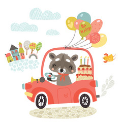 Raccoon by car greeting card vector