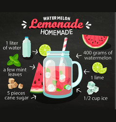 Recipe homemade watermelon lemonade vector