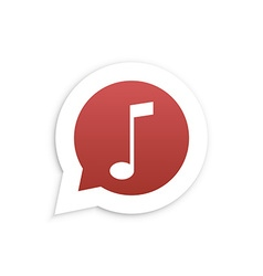 Red Music Note in speech bubble icon vector image