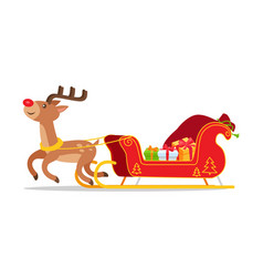 reindeer and christmas sleigh with presents vector image