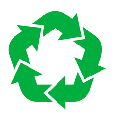 reuse and recycling green icon ecological sign vector image