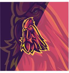 rooster head mascot logo design vector image