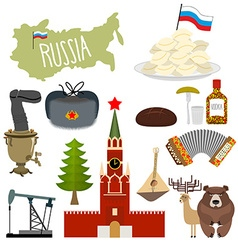 Russia set icons Traditional objects of country vector image
