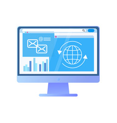 screen of computer with information globe data vector image