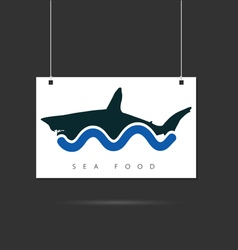 seafood icon on signboard vector image