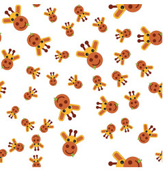 seamless pattern of giraffe head vector image
