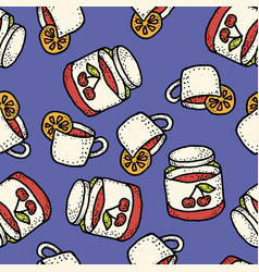 seamless pattern with tea with lemon and vector image