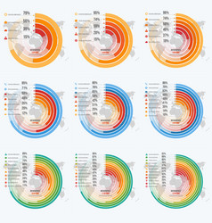 set circle informative infographics vector image