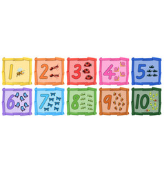 Set of insect number banner vector