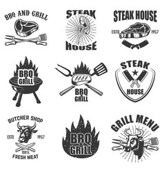 set of steak house labels bbq butcher tools bull vector image