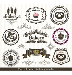 set of vintage retro bakery labels vector image