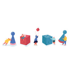 Set people characters playing board game vector