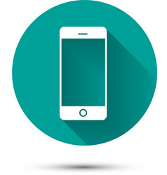 smartphone white icon on green background vector image