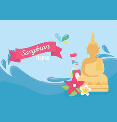 Songkran festival water splash buddha bottle vector