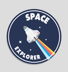space explorer rocket flying circle frame backgrou vector image
