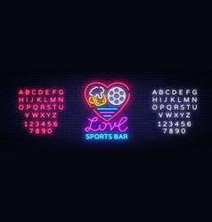 sports bar logo neon sports pub neon sign vector image