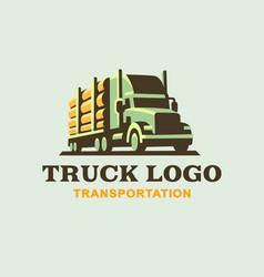 Truck logo transportation wood vector