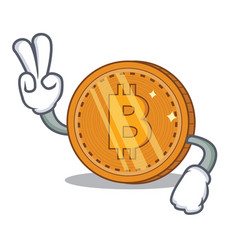 Two finger bitcoin coin character cartoon vector