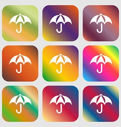 Umbrella icon sign Nine buttons with bright vector
