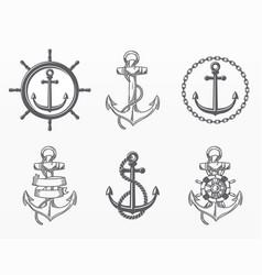 variety nautical elements set vector image