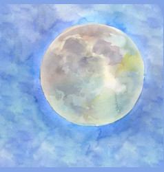 Watercolor moon on the blue sky background vector