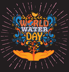 World water day water drops hand drawn vin vector