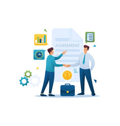 Young businessmen agreement partners growth revenu vector