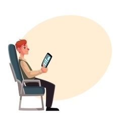 Young man seating in airplane economy class vector image
