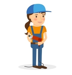 Young woman in coverall with screwdriver vector image vector image