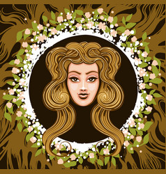 zodiac sign of virgo in earth circle vector image