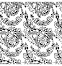 black and white ornate seamless flower paisley vector image vector image