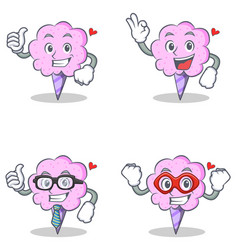 Cotton candy character set with proud okay vector