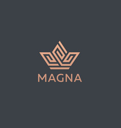 crown flower logo icon design premium vector image vector image