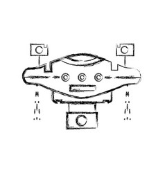 Figure technology drone with propeller and digital vector
