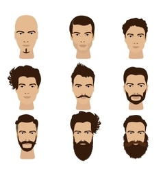 Man hair and beards styles Hipster fashion vector image vector image