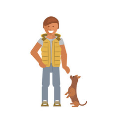 man with his dog vector image vector image