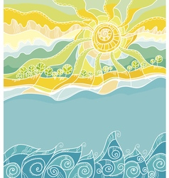 decorative of summer sea shore vector image vector image