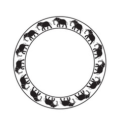 elephants circle ornament-03 vector image vector image