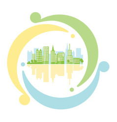 Green urban inside icon recycling in flat style vector