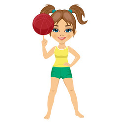 little girl spinning basketball ball with finger vector image vector image