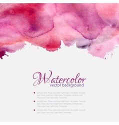 Pink watercolor blots pattern top frame vector image vector image