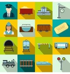 Railroad flat icons set vector