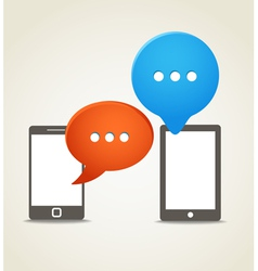 Two modern mobile phone with speech clouds vector image