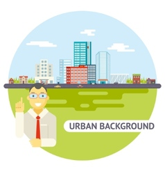 Geek Businessman Urban Landscape City Real Estate vector image vector image