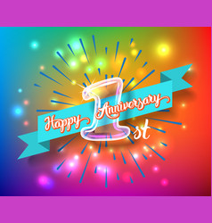 happy 1st anniversary glass bulb numbers set vector image vector image