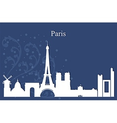 Paris city skyline on blue background vector image
