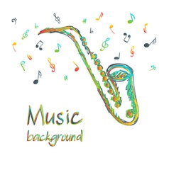 Saxophone music background with notes vector image vector image