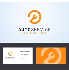 Auto car service logo and business card template vector image vector image