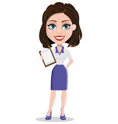 beautiful business woman holding blank clipboard vector image vector image