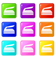 Brush for cleaning set 9 vector